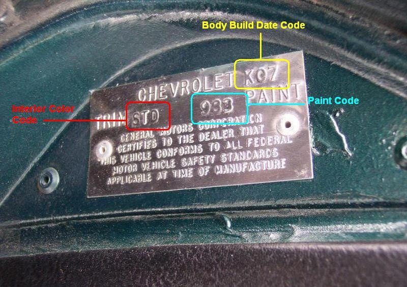 C3 Corvette Build Date Trim Tag Code Official C3 Vette Registry C3 Corvette Registry